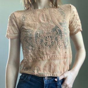Zara orange lace mesh crop top